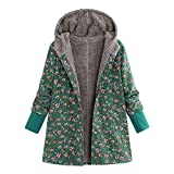 KIMODO Mantel Damen, Jacken Winter Oversize Hoodie Winterjacke Wintermantel Jahrgang Drucken Fleece verdicken Hasp Coats Outwear (Grün, M)