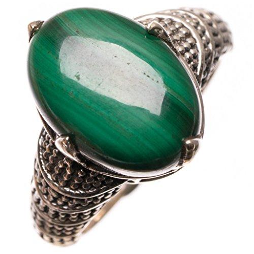 925er Sterling Silber Malachite Einzigartig Handgefertigt Ringe 17 1/2 Green S2752