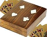 SKAVIJ astuccio in legno per carte da gioco 2 mazzi porta carte da gioco accessori da tavolo fatti a mano