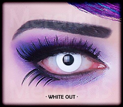 Farbige weiße weisse Crazy Fun Kontaktlinsen mit Stärke -1,50 White Out Zombie mit gratis Linsenbehälter Topqualität zu Karneval und (Freddie Maske)