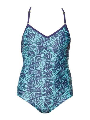Roxy - Frauen Dive In One Badeanzug, Medium, Baltic Blue Palm Print (Blue Palm Badeanzug)