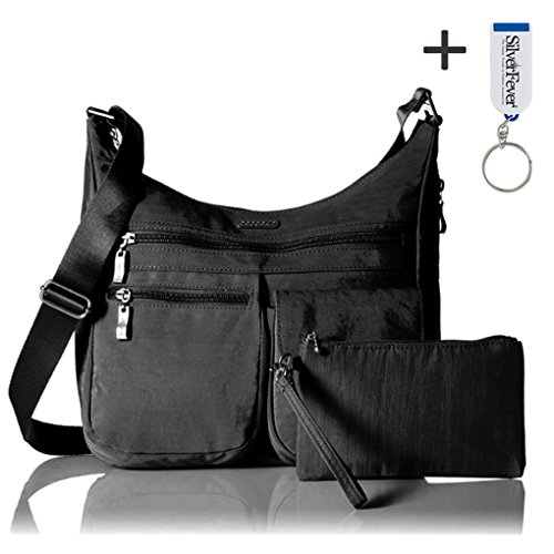 Baggallini Nylon Partout bandoulière Sac à main Everywhere Bagg BLACK WITH SAND LINING