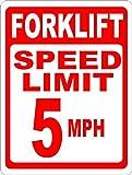 Eugene49Mor Gabelstapler Speed Limit 5MPH Schild 12x 18Metall Lager Hinweisschild