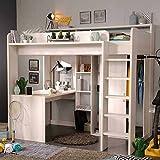 Pharao24 Kinderhochbett in Weiß mit Schreibtisch