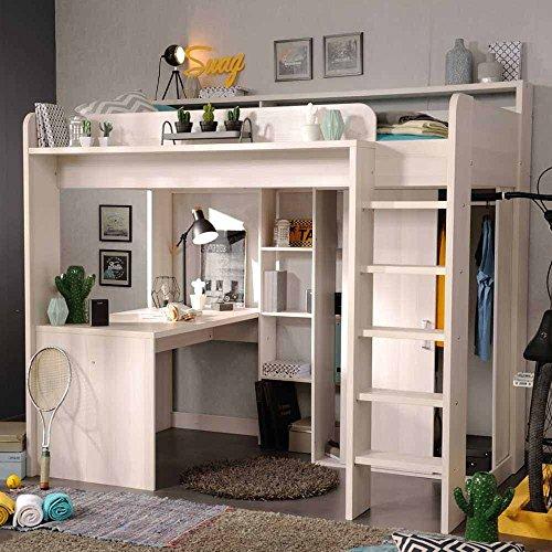 Pharao24 Kinderhochbett in Weiß mit Schreibtisch -