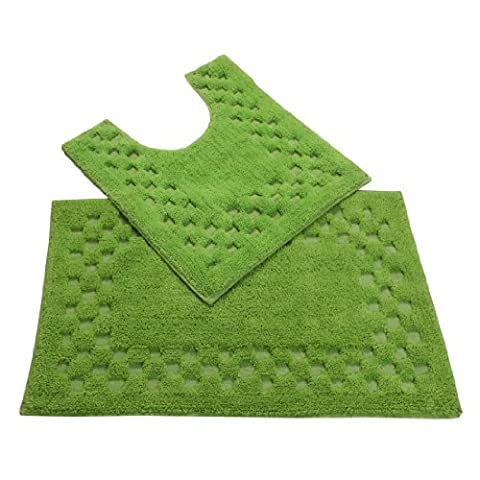Homescapes Check Border 2 Piece Bath Mat Set, Fresh Green, Soft 100% Cotton, 1200 GSM , Washable At Home, Non Slip Spray Backing.
