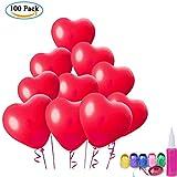 100 Stück Herz Bunte Luftballons, ZWOOS 2.1g Sortierte Farben Party Herzform Latexballons mit Bändern für Hochzeit, Geburtstag, Party und Jubiläum