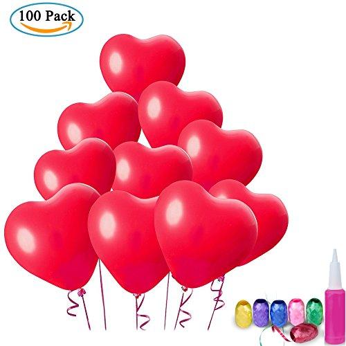 Zwoos 100pz rosso palloncini lattice balloons a forma di cuore con nastri per matrimonio, san valentino, compleanno, festa e anniversario (pompa a sfera a colori casuale)