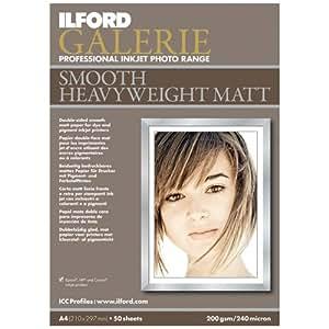 Ilford 1127939 Papier Photo Couche Mat Double Face A4 21,0 x 29,7 cm 50 feuilles