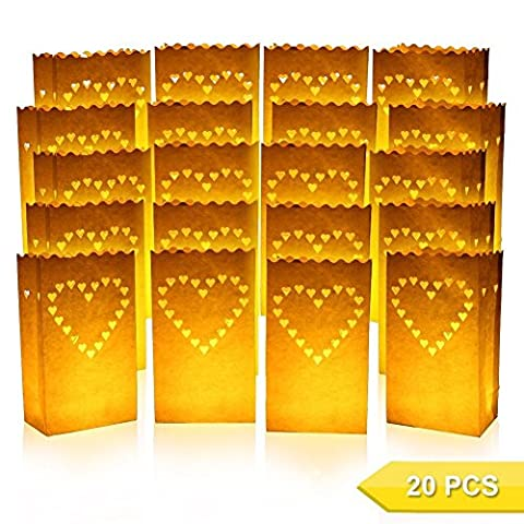 Cookey Candle Luminary Bags, 20 Pcs Tealight Candle Bags, Durable and Reusable Fire-Retardant Cotton, Perfect for Home Outdoor, Christmas, Wedding, Reception, Holiday, Party and Event Occasion Decoration (Heart