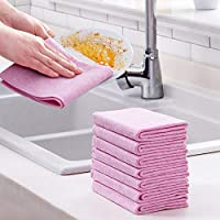 Esoes 5PCS Microfibre Cleaning Cloth Coconut Shell Washing Towel Eco-Friendly Kitchen Dish Cloths,Ideal for Kitchen,Furniture and Car Cleaning (Pink)