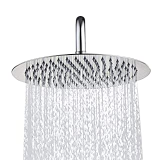 ANTFEES Extra Large 8 Inch 304 Stainless Steel Ultra Thin Drenching Rain Fall Shower Head with Fixed Filter Rain Style Polished Chrome(Round,20cm)