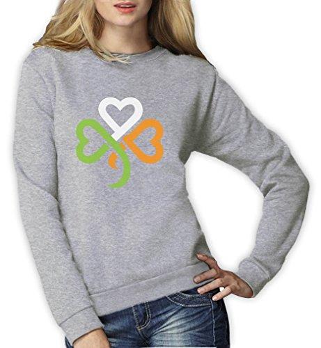 St. Patrick's Day Shamrock Kleeblatt Irland Farben Frauen Sweatshirt Large Grau