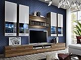 Juub Wohnwand Anbauwand Wohnzimmer Schrankwand DORADE Hochglanz LED BELEUCHTUNG TOP - Dorade Nussbaum Weiß