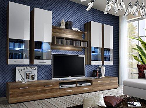 Juub Wohnwand Anbauwand Wohnzimmer Schrankwand DORADE Hochglanz LED  BELEUCHTUNG TOP   Dorade Nussbaum Weiß
