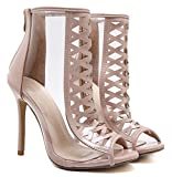 Aisun Damen Modern Peep Toe Cut Out Transparent Stiletto High Heel Sommerstiefel Sandale Mit Reißverschluss Aprikosenfarben 37 EU - 2