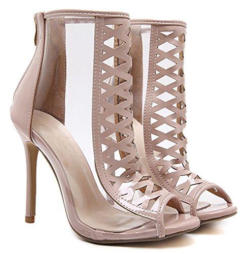 Aisun Damen Modern Peep Toe Cut Out Transparent Stiletto High Heel Sommerstiefel Sandale Mit Reißverschluss Aprikosenfarben