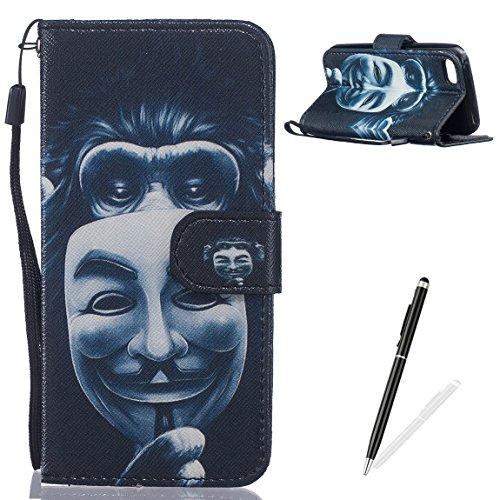 Feeltech Weich PU Leder Brieftasche Tasche für Apple iPhone 5C mit Magnetverschluss und Kartenhalter Gedrucktes Nettes Karikaturmuster Slim Flip Leather Wallet Hülle Etui-Orang Utan Maske (Case Bling Iphone 5c-skull)