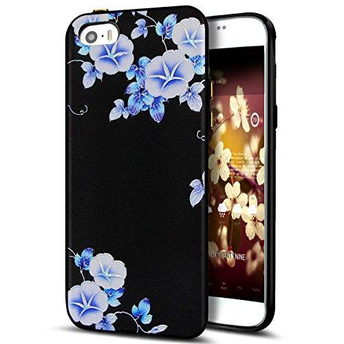Cover iPhone 5S,Cover iPhone 5,Cover iPhone SE,Custodia iPhone 5S 5 SE Cover,ikasus® Cover custodia iPhone SE 5S 5 disegno colorato TPU con 3d arte pittura floreale fiore fiori ciliegio girasole model Fiore #7
