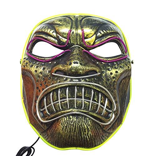 AZZRA Scary Mask Cosplay LED Kostüm EL Wire leuchten für Halloween Festival Party Halloween Maske Cosplay Maske Purge DJ Mask für Festival Party Halloween Kostüm - Intergalaktische Kostüm
