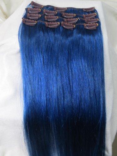 Bleu foncé pleine tête Clip en Extensions de cheveux humains remy cheveux. de grande qualité. Poids 75 g (50,8 cm)