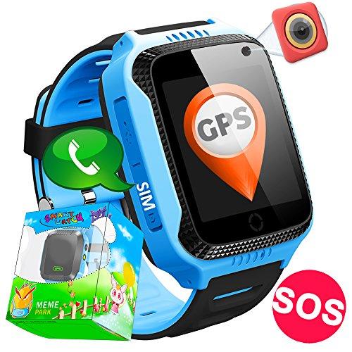 TURNMEON GPS Tracker Smartwatch Inteligente Relojes para Niños Niñas con cámara de Podómetro con Pantalla Táctil Llamadas SIM Anti-perdida SOS Regalos de Cumpleaños Compatible con Android/IOS Smartphone (Azul)