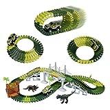 TONZE Circuit Flexible Circuit Voiture Enfant Jouet Circuit Voiture Dinosaure Enfant Noel Cadeau Garcon Fille 3 4 5 6 Ans (220cm, 142Pièces)