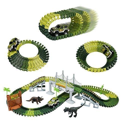 Autobahn Spielzeug Car Track mit Electric Auto Dinosaurier Autorennbahnen für Kinder 3 4 5,220CM - Spielzeug-rennstrecke