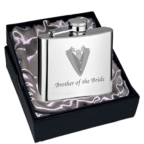 brother-of-the-bride-hip-flask-4oz-size-with-tux-cravat-wedding-engraving-design