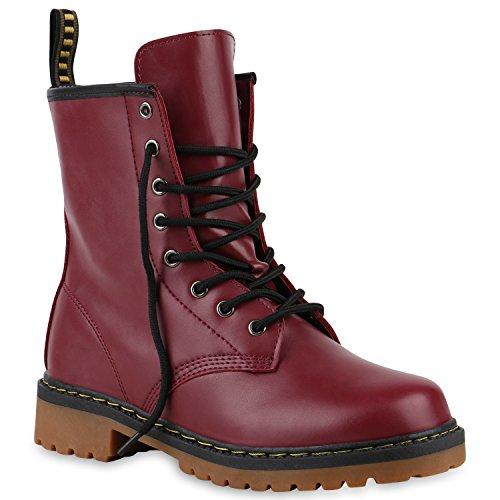 Derbe Damen Stiefeletten Worker Boots Profilsohle Camouflage Stiefel Schnür Animal Print Schuhe 126910 Dunkelrot 40 Flandell