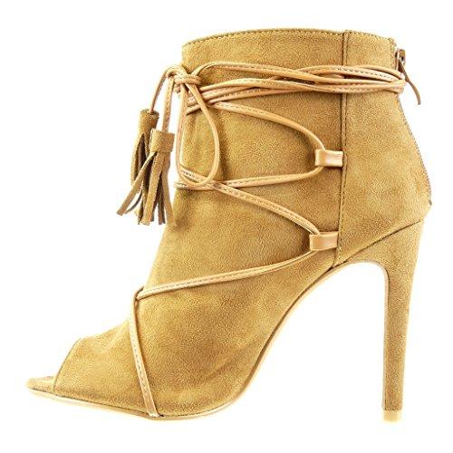 Angkorly Damen Schuhe Sandalen Stiefeletten - Stiletto - Sexy - Offen - Spitze - Fransen - Bommel Stiletto High Heel 10.5 cm Camel