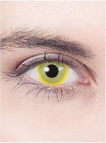 Halloween Karneval Party Motiv farbige Linsen Kontaktlinsen Nachtelf gelb 1 - Monatslinsen ohne Stärke für Frauen und (Linsen Billig Kontakt)