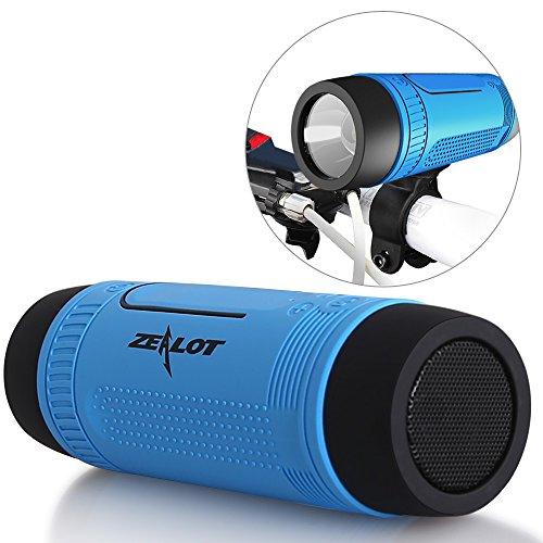 ZEALOT S1 mini Bluetooth Lautsprecher 3in1 tragbarer wireless Bluetooth Speaker HiFi-Sound Fahrrad Lautsprecherbox mit TF-Karte-Slot, Aux-Eingang, Freisprechefunktion und Taschenlampe verwendbar für iPhone, Android Smartphone, PC, Tablet, iPad und anderer Bluetooth-Geräte (Blau)