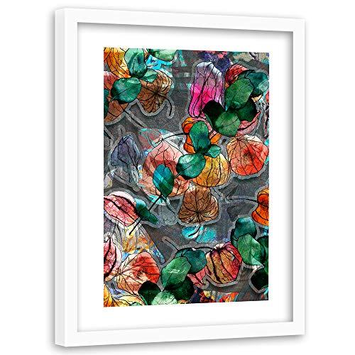 Feeby Tableau Cadre Blanc Feuillage Nature Impression Art Abstrait Multicolore 60x90 cm