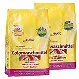 HAKA Colorwaschmittel I 2x 3kg Pulver I 77 Wäschen pro Beutel I Waschmittel hautfreundlich und ohne Aluminium I Mit Farbschutz für Buntwäsche