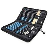 LHXHL 41 Zeichensätze - Bleistiftskizze Bleistift-Set mit 60-Seitigem Zeichenbrett, 5H-8B-Künstler-Reißverschlusstasche, Künstler-Zeichenzubehör für Künstler, Bleistift-Kit, Anfänger, Studentenset