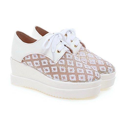 AgooLar Damen Mittler Absatz Rein Schnüren Lackleder Quadratisch Zehe Pumps Schuhe Weiß