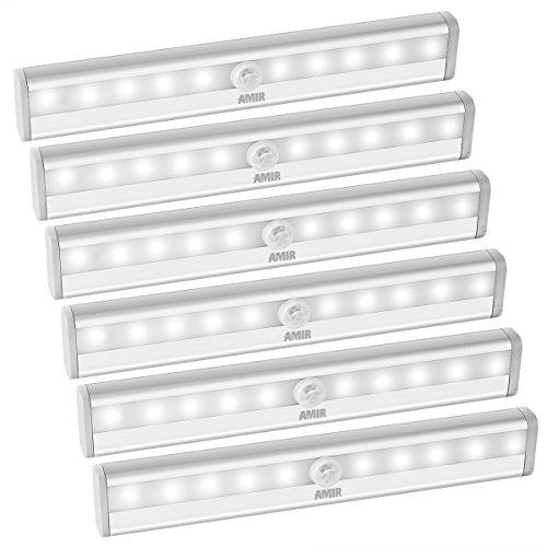 AMIR LED Schrankbeleuchtung, Nachtlicht mit Bewegungsmelder, 10 LED Batteriebetrieben Kabinett Nachtlicht, Auto On/Off PIR Motion Sensing Licht für Schlafzimmer, Küche, Gang, Schubfach, usw. (6 (Lichter Küche)