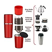 TDH Manual Coffee Grinder Filter Cup Coffee Brewer, Portable Coffee Maker, All-in-One Coffee Machine Cup for Travel Home Gift