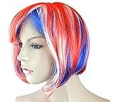 Sonia Originelli Perücke Kurzhaar Bob Kopfbedeckung WM EM Fan Party Fasching Karneval Farbe Frankreich