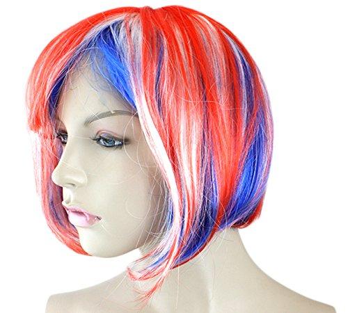 Sonia Originelli Perücke Kurzhaar Bob Kopfbedeckung WM EM Fan Party Fasching Karneval Farbe Australien
