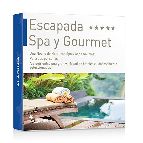 ALADINIA Box Caja Regalo Pack Escapada SPA y Gourmet con Validez Ilimitada | Una Noche de Hotel con Desayuno Acceso a SPA y Experiencia Gourmet para 2 Personas con más de 70 Opciones para Elegir