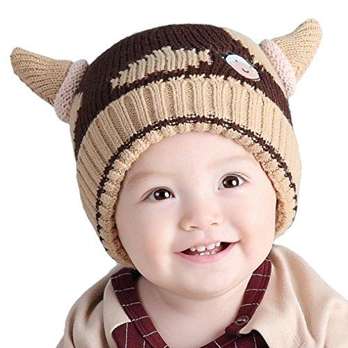 Babybekleidung Hüte & Mützen Longra Kinder Strickmütze Weben Horn Hut Kids Baby Beanies Kappe (1-4 Jahre-alte Kinder) (Coffee)