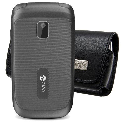 Original MTT Quertasche für / Doro PhoneEasy 613 / Horizontal Tasche Ledertasche Handytasche Etui mit Clip und Sicherheitsschlaufe*
