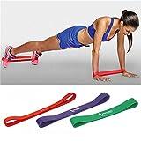 Übung Bands, bloomma Loop Bands–Widerstand Stärke Bands für Training und Physiotherapie, Yoga, Reha, die Verbesserung der Mobilität und Stärke, Latex, violett, 3PCS