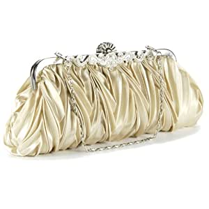 Crystals kiss lock satin pleated evening wedding prom bridal clutch lady handbag purple white silver red beige (beige)
