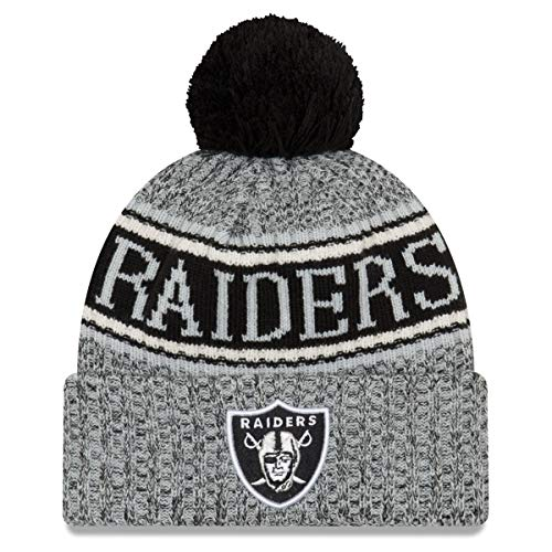 7a1e8b59371 New Era Oakland Raiders Beanie NFL 2018 Sideline Sport Reverse Knit  Grey Black - One