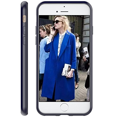 iPhone 7 Hülle, Yokata Durchsichtig Case Weiche Ultra Slim Transparent Cover mit Soft TPU Silikon Bumper Protector Back Schutzhülle - Rose Gold Bumper Navy Blau