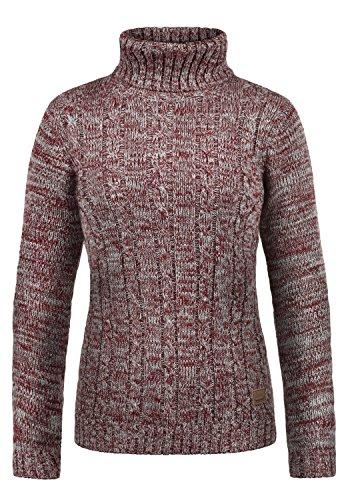 DESIRES Philipa Damen Rollkragenpullover Pullover Zopfstrick Mit Rollkragen Aus 100% Baumwolle, Größe:L, Farbe:Wine Red Melange (8985)
