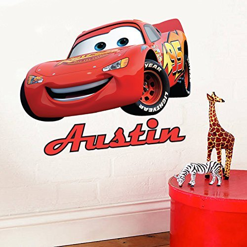 Image of Full Colour Personalised Disney Cars Lightning McQueen Children's Bedroom Kids Room Playroom Wall Sticker Wall Art Vinyl Transfer Wall Decal Wall Mural - LARGE Size (Supersize also available!)